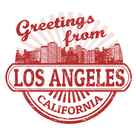 notify: Grunge rubber stamp with text Greetings from Los Angeles, vector illustration