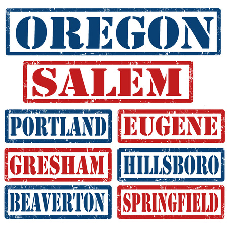 state of oregon: Set of Oregon cities stamps on white background, vector illustration