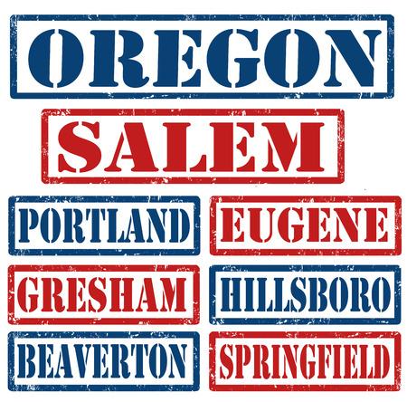 eugene: Set of Oregon cities stamps on white background, vector illustration