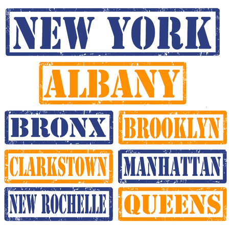 Set of New York cities stamps on white background, vector illustration