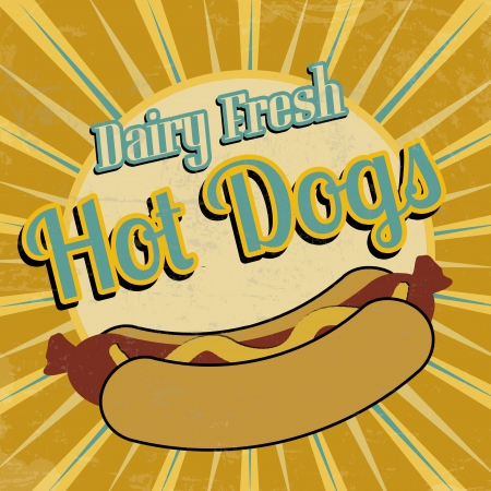 Hot Dogs vintage grunge poster, vector illustration Vector