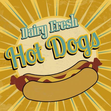 Hot Dogs vintage grunge poster, vector illustration