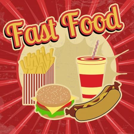 Fast Food vintage grunge poster, vector illustration Vector