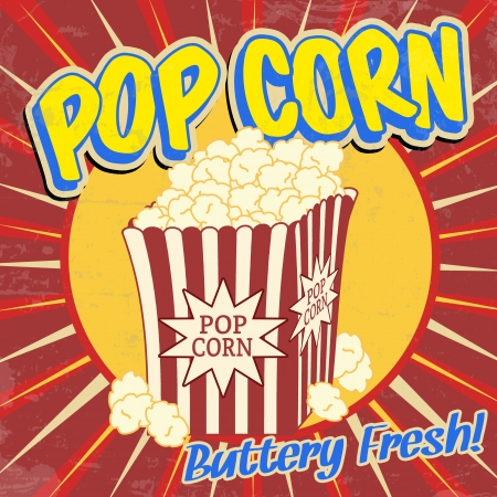 palomitas: Cartel de época grunge Pop corn, ilustración vectorial