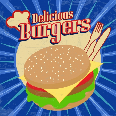 Delicious Burgers vintage grunge poster, vector illustration Vector