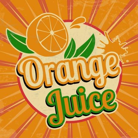 Orange juice vintage grunge poster, vector illustration Vector