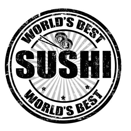 Grunge rubber stamp with the word Sushi written inside the stamp Vector