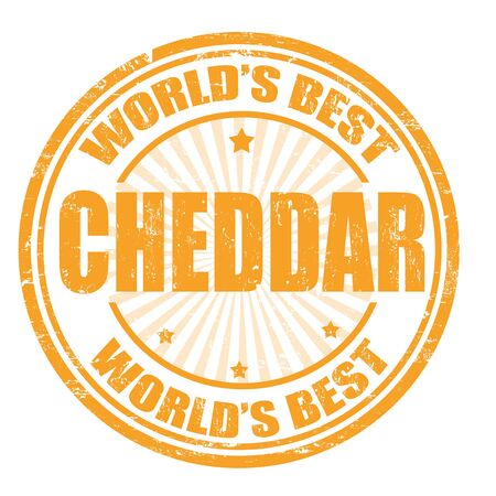 cheddar: Grunge rubber stamp with the word Cheddar written inside the stamp Illustration