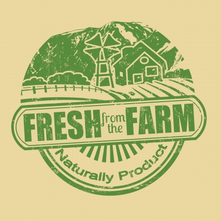 naturally: Fresh from the farm product grunge rubber stamp, vector illustration