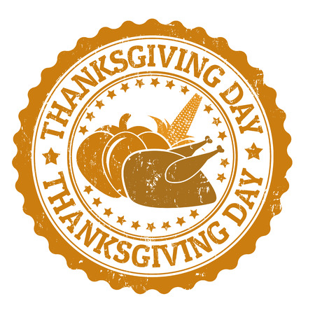 Grunge rubber stamps with the text Thanksgiving Day written inside, vector illustration Vector