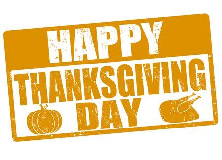 thanksgiving day symbol: Felice giorno del ringraziamento grunge timbro di gomma, illustrazione vettoriale