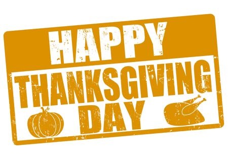 thanksgiving day: Happy thanksgiving day grunge rubber stamp, vector illustration
