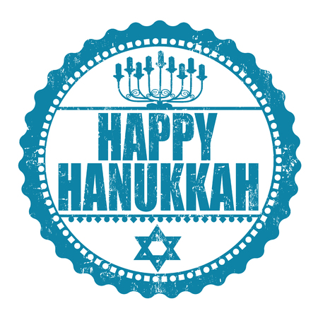 hanukka: Happy Hanukkah rubber grunge stamp with Hanukkah candles lit for the eighth night Illustration