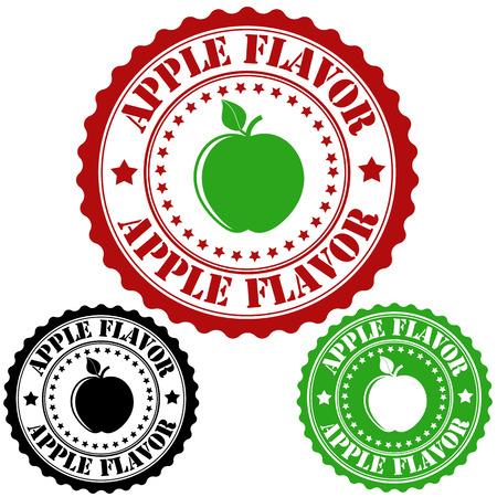 sirup: Apple flavor set of rubber stamps, vector illustration