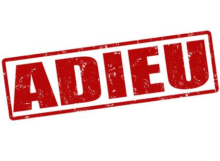 addio: Grunge timbro di gomma con la parola Addio, (lingua francese), Adieu, illustrazione vettoriale