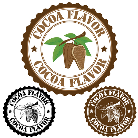 Cocoa flavor set of rubber stamps, vector illustration Stock Vector - 23469613