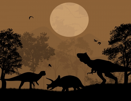 Dinosaurs silhouettes in beautiful landscape at night, vector illustration Stock Vector - 23469623