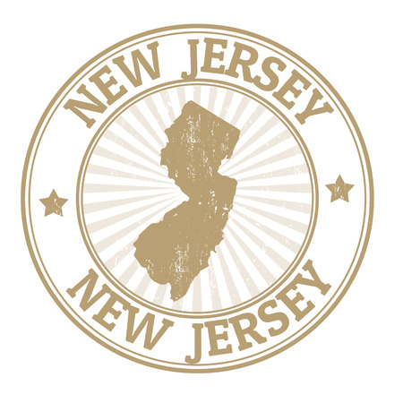old new: Grunge rubber stamp with the name and map of New Jersey, vector illustration