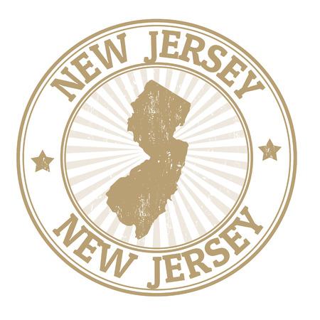 timbre voyage: Tampon en caoutchouc grunge avec le nom et la carte du New Jersey, illustration vectorielle Illustration