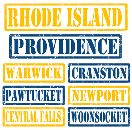 island state: Set of Rhode Island cities stamps on white background, vector illustration
