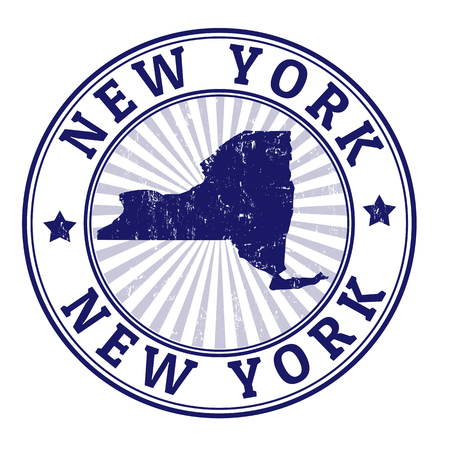 Grunge rubber stamp with the name and map of New York, vector illustration Vector