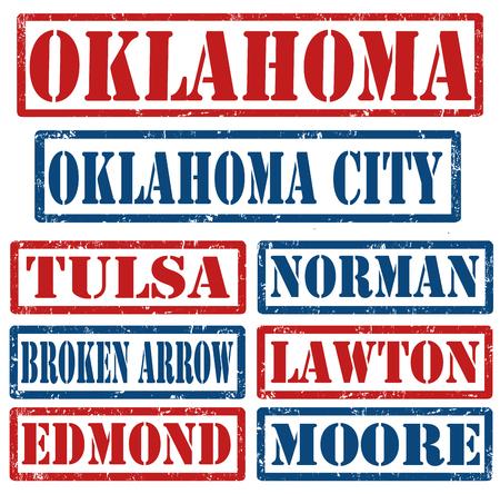 oklahoma: Set of Oklahoma cities stamps on white background, vector illustration Illustration