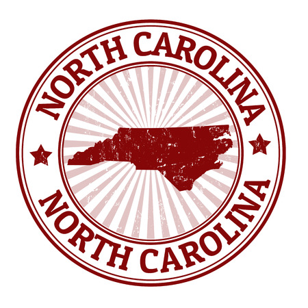 north carolina: Grunge rubber stamp with the name and map of North Carolina, vector illustration