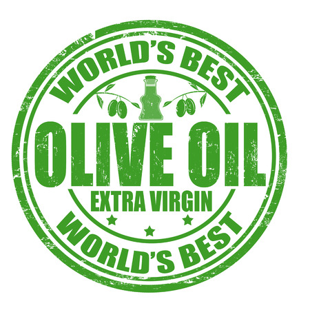 virgin: Grunge rubber stamp with the word Olive oil written inside the stamp