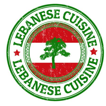 Grunge sello de goma con la bandera de Líbano y el texto escrito en su interior cocina libanesa, ilustración vectorial