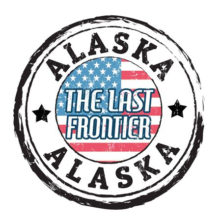 frontier: Grunge rubber stamp with flag and the text  Alaska, The last frontier, vector illustration
