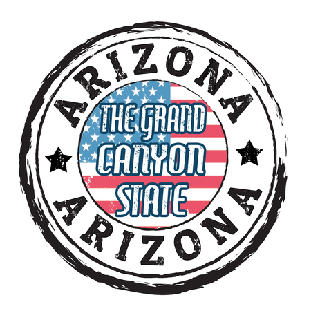 canyon: Grunge rubber stamp with flag and the text  Arizona, The grand canyon state, vector illustration