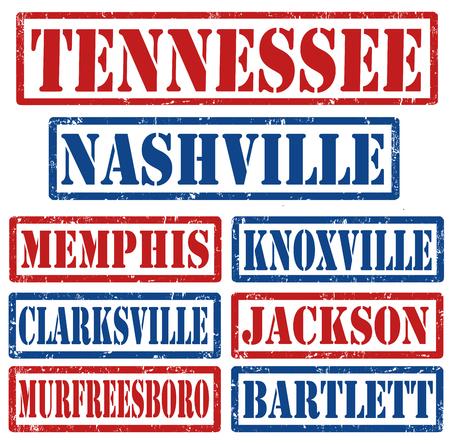 tennesse: Conjunto de Tennessee ciudades sellos sobre fondo blanco, ilustración vectorial Vectores