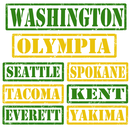 kent: Set of Washington cities stamps on white background, vector illustration