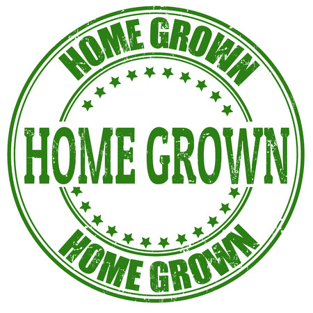 home products: Home Grown grunge rubber stamp on white, vector illustration Illustration