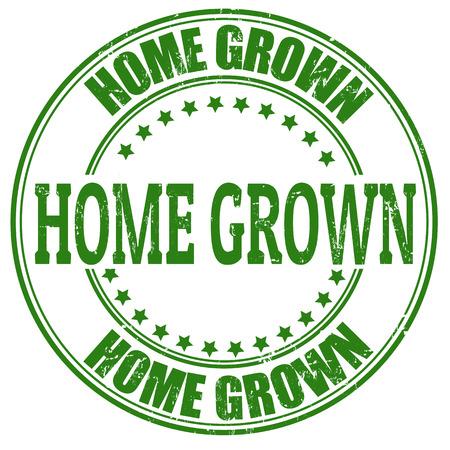 home grown: Home Grown grunge rubber stamp on white, vector illustration Illustration