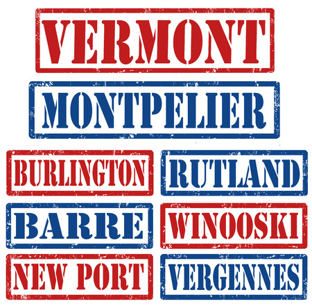 barre: Set of Vermont cities stamps on white background, vector illustration