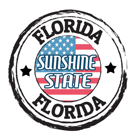 sunshine state: Grunge rubber stamp with flag and the text  Florida, Sunshine state, vector illustration Illustration