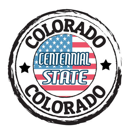 state of colorado: Grunge rubber stamp with flag and the text  Colorado,Centennial state, vector illustration Illustration