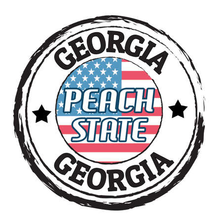 georgia flag: Grunge rubber stamp with flag and the text  Georgia, Peach state, vector illustration