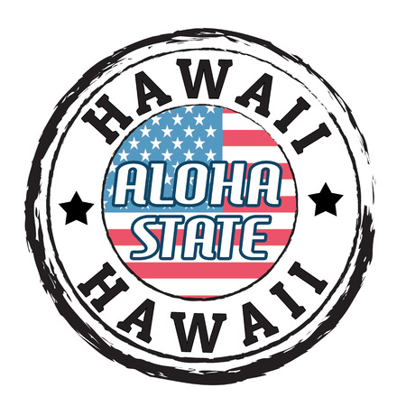hawaii flag: Grunge rubber stamp with flag and the text  Hawaii, Aloha state, vector illustration Illustration