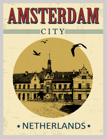 Amsterdam, Netherlands in vintage style poster, vector illustration Stock Vector - 23647075