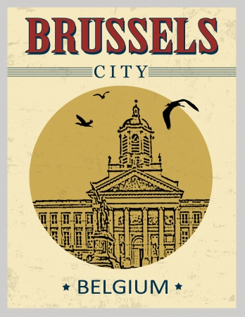 Brussels, Belgium in vintage style poster, vector illustration Stock Vector - 23647082