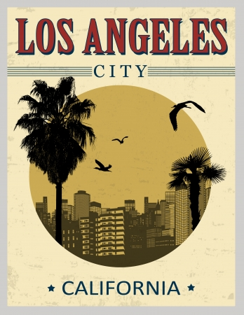 los: Los Angeles city from California in vintage style poster, vector illustration Illustration