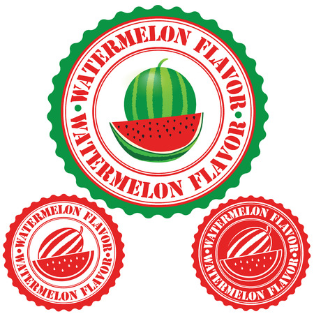 sirup: Watermelon flavor set of rubber stamps, vector illustration