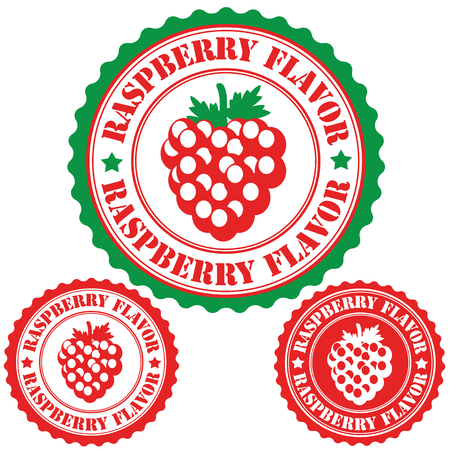 sirup: Raspberry flavor set of rubber stamps, vector illustration