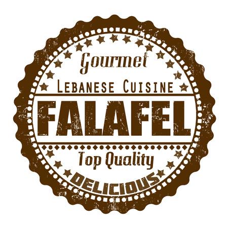 Falafel grunge rubber stamp on white, vector illustration Ilustração