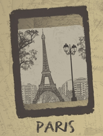Paris - Vintage postcard design with Eiffel Tower on antique background, vector illustration Vector