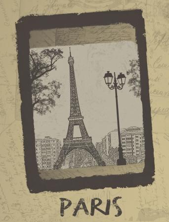 postcard background: Paris - Vintage postcard design with Eiffel Tower on antique background, vector illustration Illustration