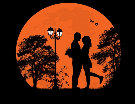 Lovers in the city park in front a full moon, vector illustration Vector
