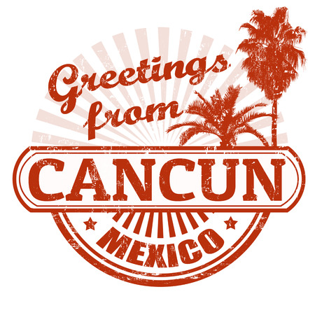 Grunge rubber stamp with text Greetings from Cancun, vector illustration Vector
